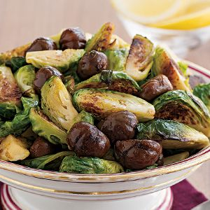 Roasted brussel sprouts and chestnuts.   Can't talk, eating.   Pinter ...