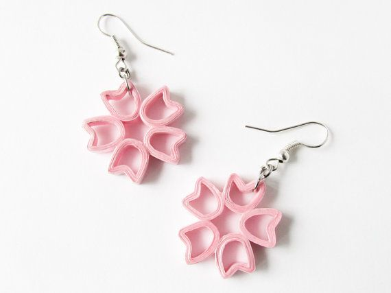 Light pink flower shaped, paper quilled earrings - 1st anniversary gi?