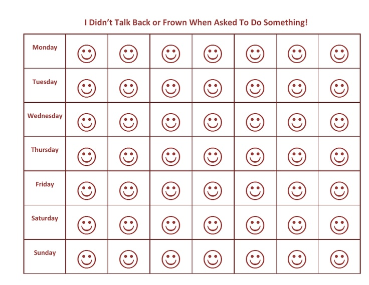 Weekly smiley behavior chart | Naughty No More ; ) | Pinterest