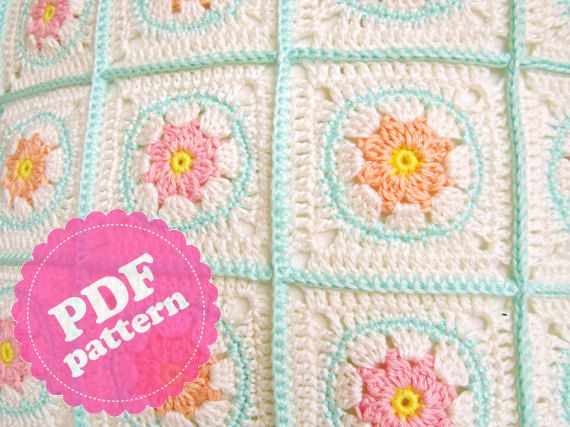 Crochet Patterns English : Crochet Pattern Tutorial Flower Square ENGLISH by ColornCream, $4.99