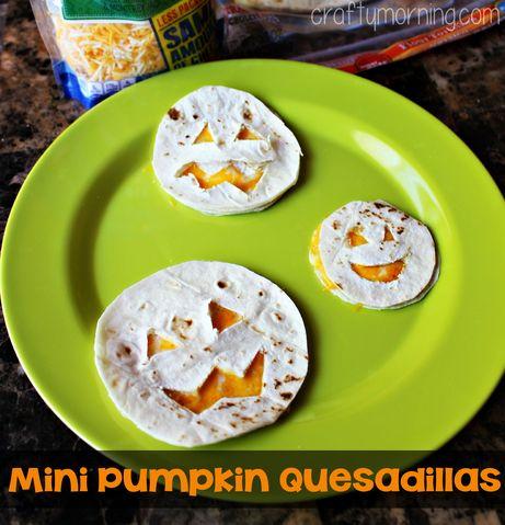Mini Pumpkin Quesadillas for a Halloween Lunch Idea - Crafty Morning