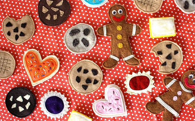 Calvin would love these felt cookies.  Especially the gingerbread men.