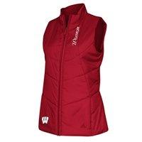 adidas Wisconsin Badgers Womens Quilted Full Zip Vest