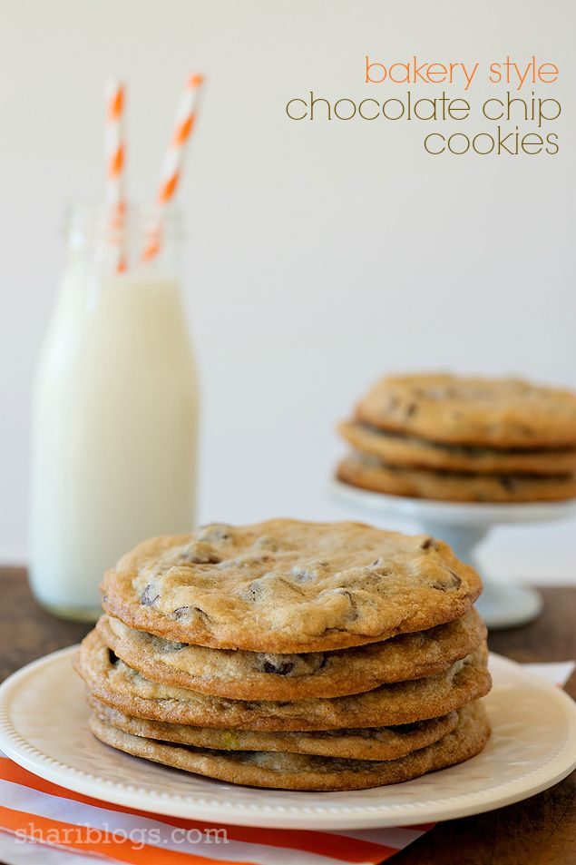 Bakery Style Chocolate Chip Cookies | www.shariblogs.com | #cookies # ...