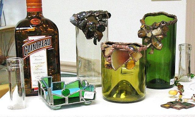 Recycled wine liquor bottle art art pinterest for Liquor bottle art