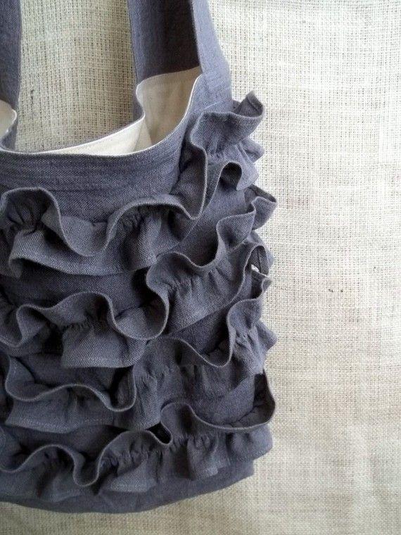 grey linen ruffles bag