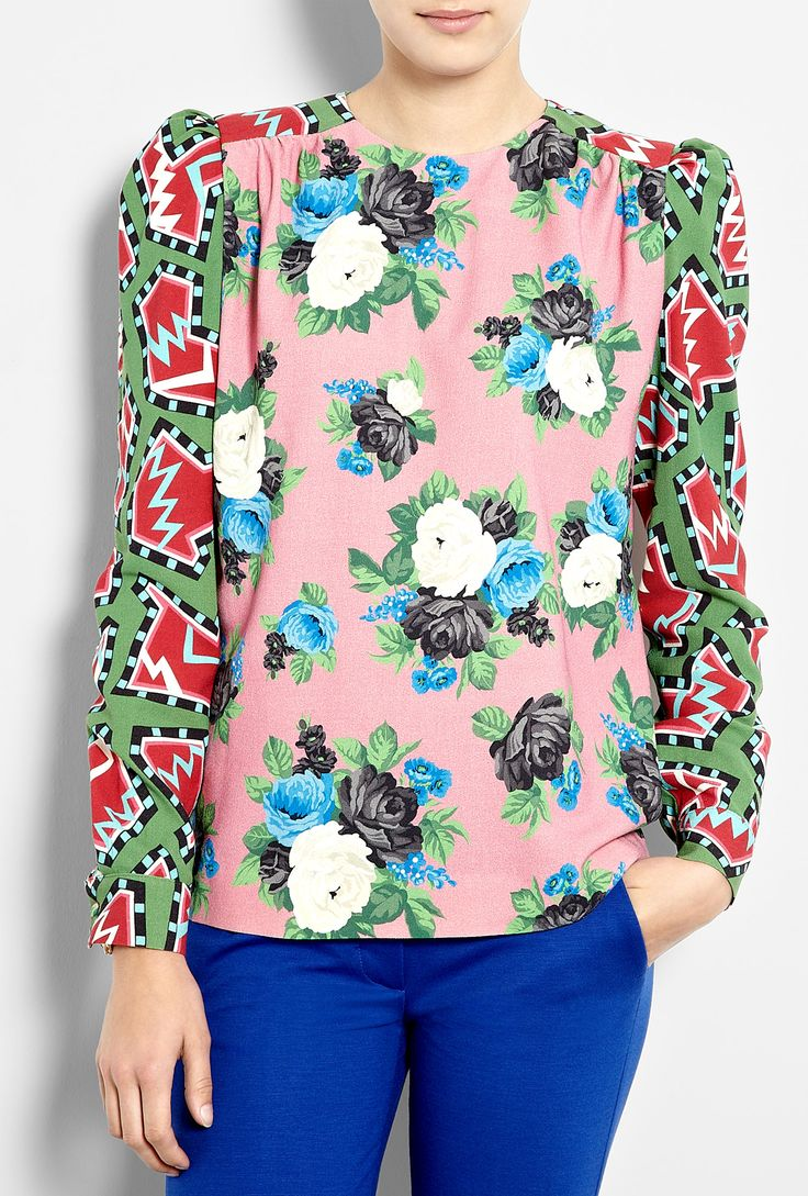 Crazy mix of prints, but it works. Rose Stamp Stretch Wool Top by MSGM