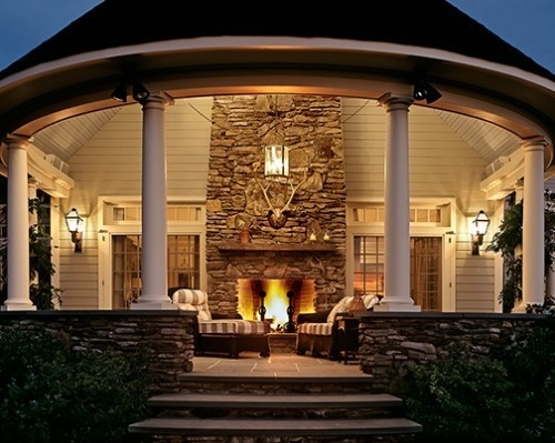 Covered porch fireplace for Back porch fireplace