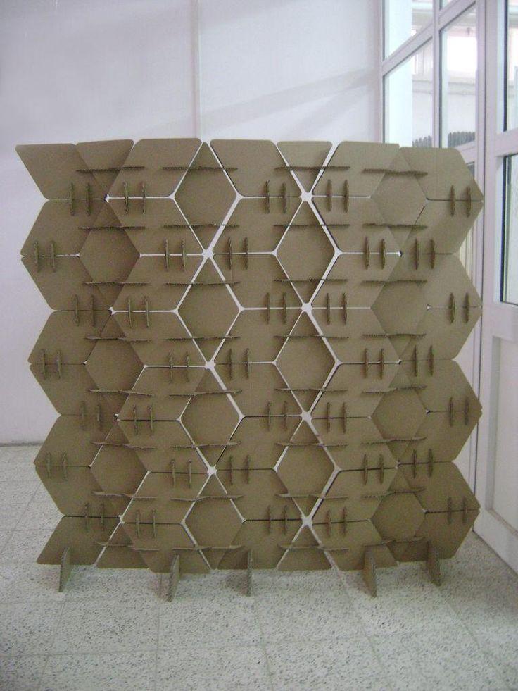 Diy dorm room crafts diy cardboard room divider dorm for Homemade room divider ideas