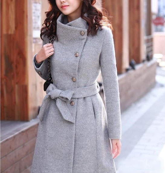 Popular Jacket Coat Pea Coat Dress Coat Black Dark Charcoal Trench Coat Wool