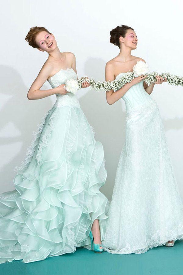Light green color wedding dresses love that dress for Light green wedding dress