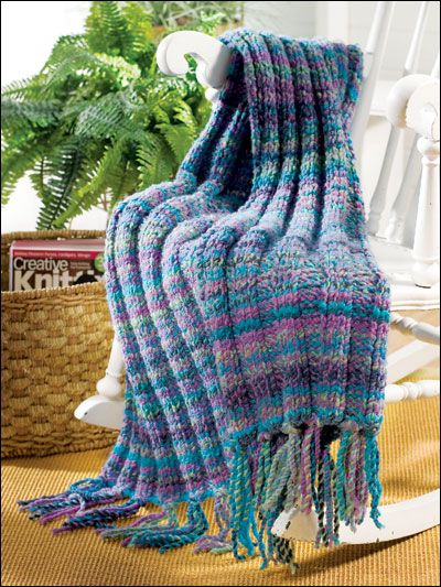 Quick And Easy Knitted Afghan Patterns : Chunky Throw / Blanket knitting pattern Afghans ...
