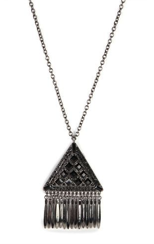 Deb Shops Long #Necklace with Stone Triangle and Fringe $7.50