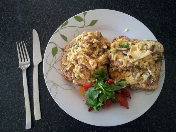 Scrambled Egg Tartines With Parsley & Garlic Mushrooms Recipe ...