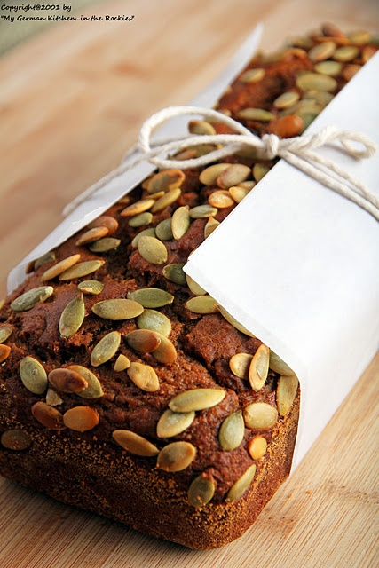 EVOO PUMPKIN BREAD WITH PUMPKIN SEED TOPPING