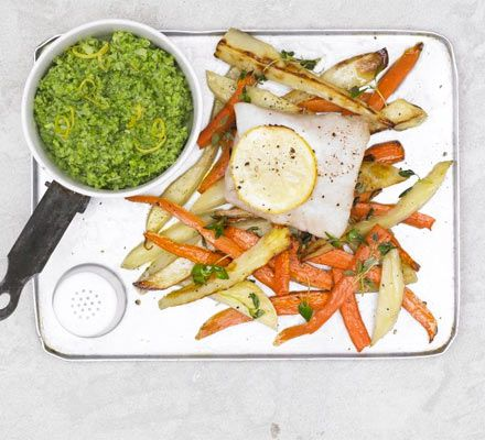 Lemon-scented fish & chips. Oven-bake white fish with carrots and ...