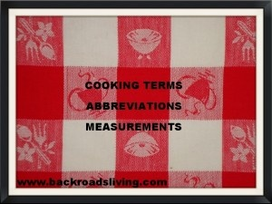 Common cooking terms measurements and abbreviations