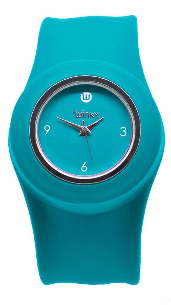 Slap Band Watch - Jelly Turquoise by Winky Designs