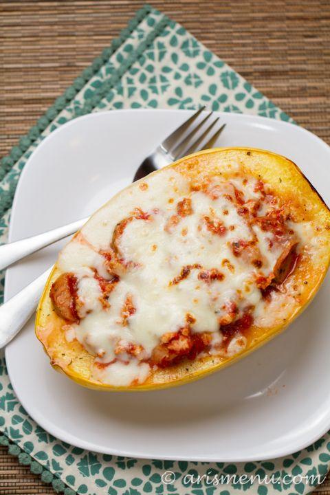 Lasagna Stuffed Spaghetti Squash #glutenfree, substitute full fat ...