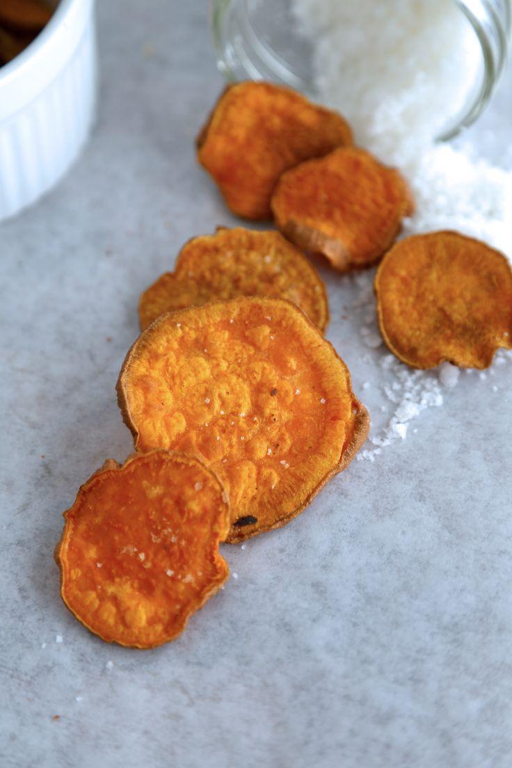 Baked Sweet Potato Chips with Sea Salt #Chips #Dips #Salsa #Potato # ...
