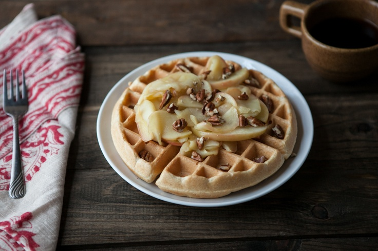 Brown Butter Waffles with Honey-Apples and Pecans | Recipe