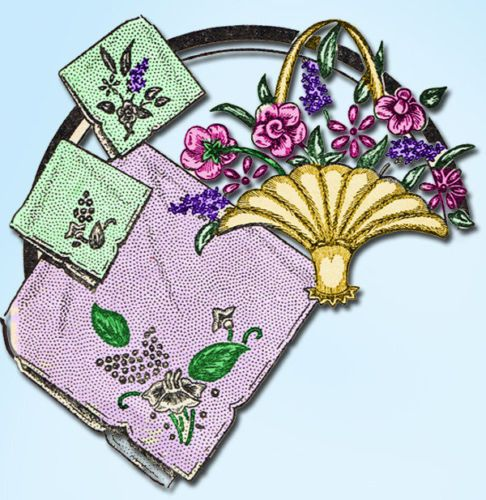 1940s Easy Aunt Martha Floral Motifs Uncut Hot Iron Transfrer | eBay