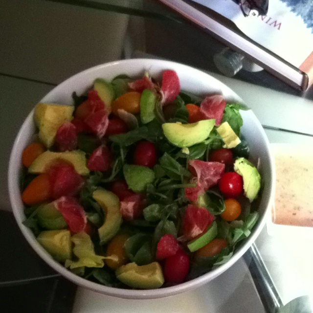 ... and watercress salad with avocado and grapefruit and yellow tomatoes