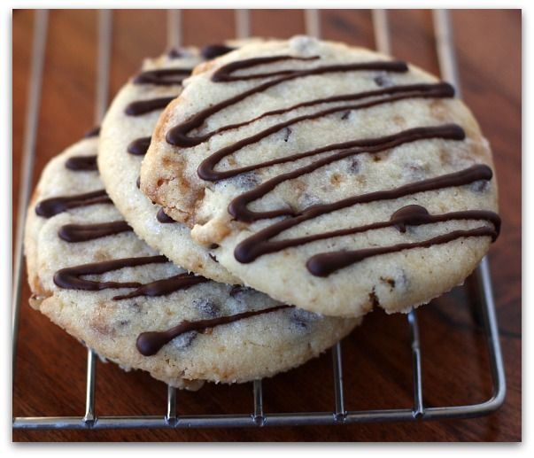 Chocolate Drizzled Toffee Chocolate Chip Cookies | Recipe
