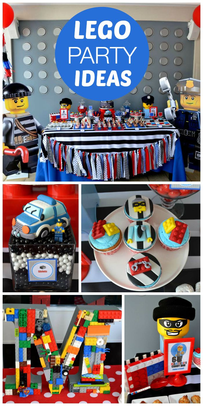 A LEGO city police boy birthday party with a fun themed backdrop and decorations! See more party planning ideas at CatchMyParty.com!