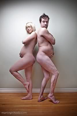 LMAO. Couple pregnancy photo. What do you think mommies...Horror Show or Romantic Comedy?