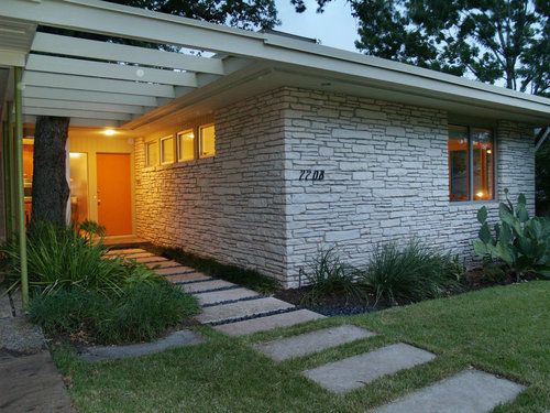 Modern Front Entry Stacked Stone Siding Exterior