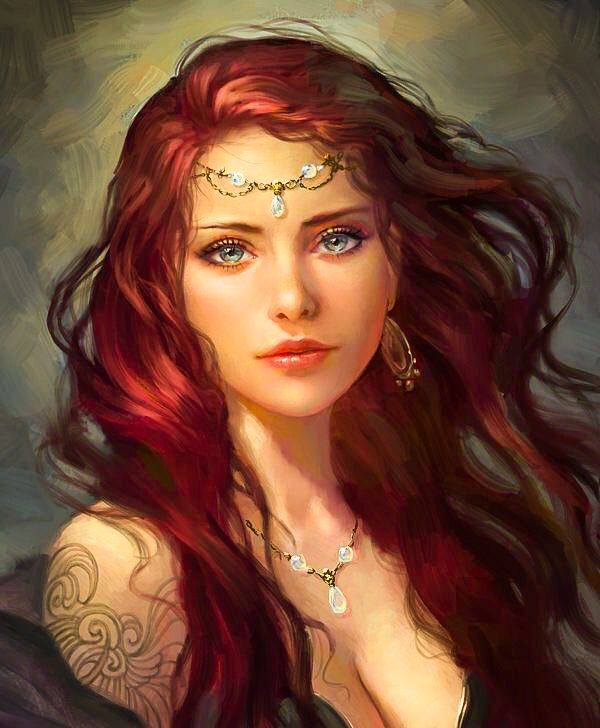 Fantasy women with red hair
