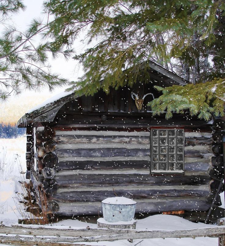 Cabin in the snow winter time brrr pinterest for Country cabin christmas