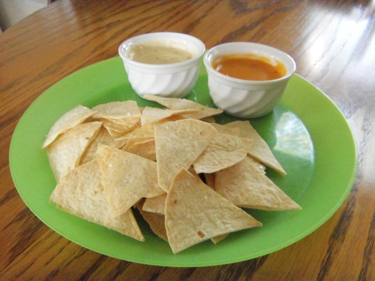 Easy Homemade Tortilla chips: cut tortilla shells into triangles. then ...