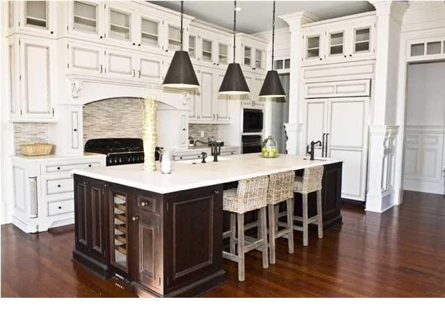 Dark island and white kitchen cabinets  Dream Kitchen  Pinterest