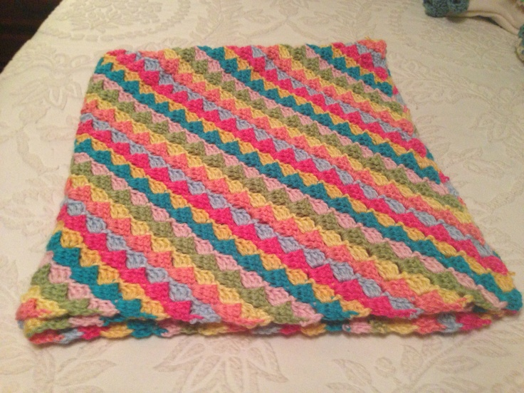 Free Crochet Pattern For Diagonal Baby Blanket : Diagonal Baby Afghan Crochet Crafts Pinterest
