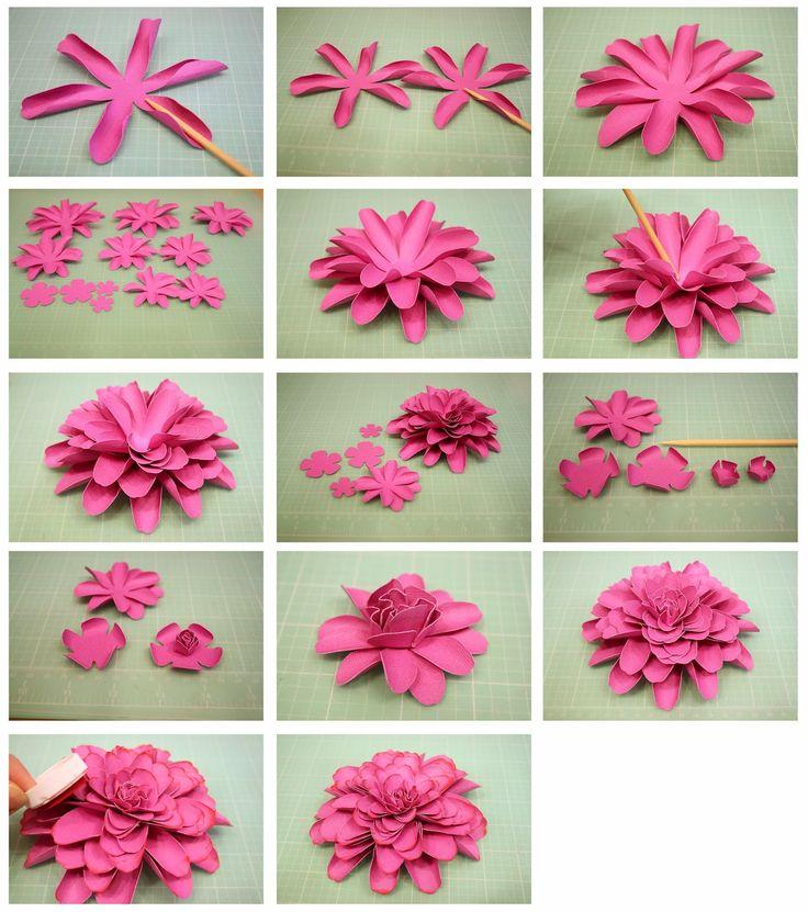 Цветы из бумаги пошаговое фото легкие плоские 117