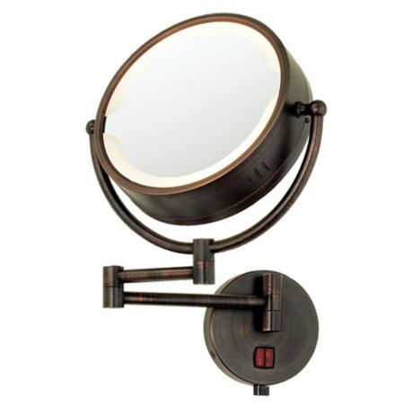 Oil Rubbed Bronze Swing Arm Plug-In Lighted Vanity Mirror