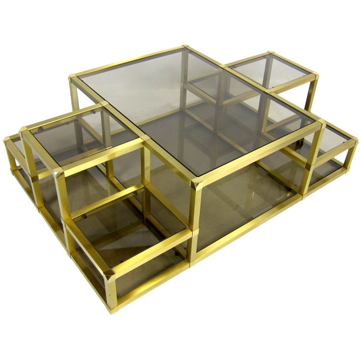 Large Multi Level Cubist Inspired Brass Cocktail Table France 1970 39 S