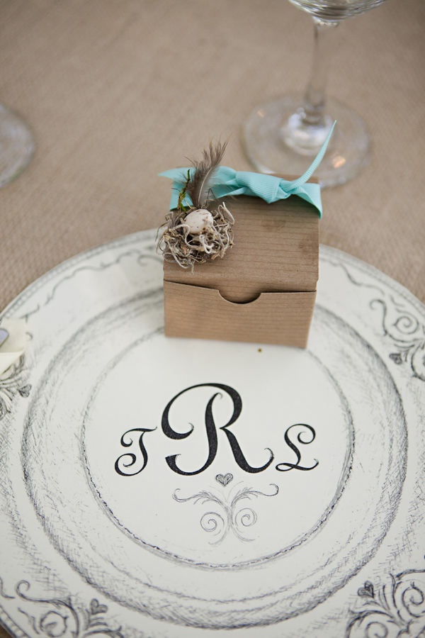cookie favor box with sketched placemat.