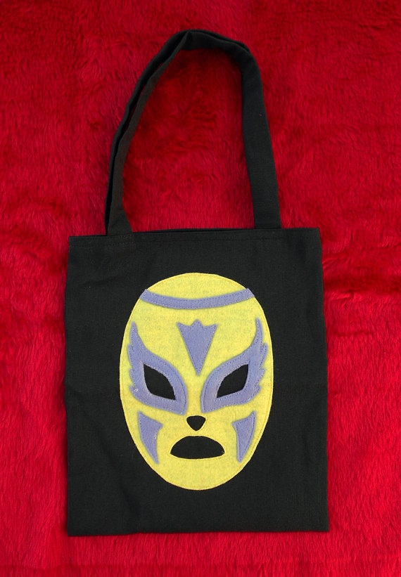 Yellow and Purple Wrestling Mask Tote Bag por PunkitaShop en Etsy, £8 ...