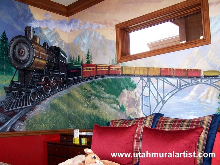 train bedroom mural mural musings pinterest