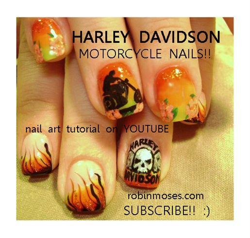HARLEY DAVIDSON biker and skull logo   Nail Art Designs   Pinterest