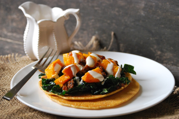 Socca with Roasted Squash, Kale, and Italian Sausage