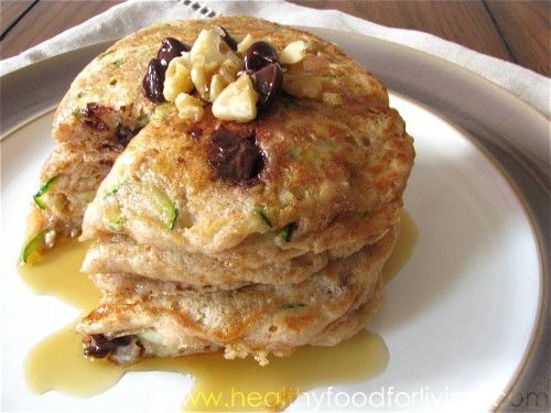 Zucchini Bread Pancakes Says for one, but makes at least 6 pancakes ...