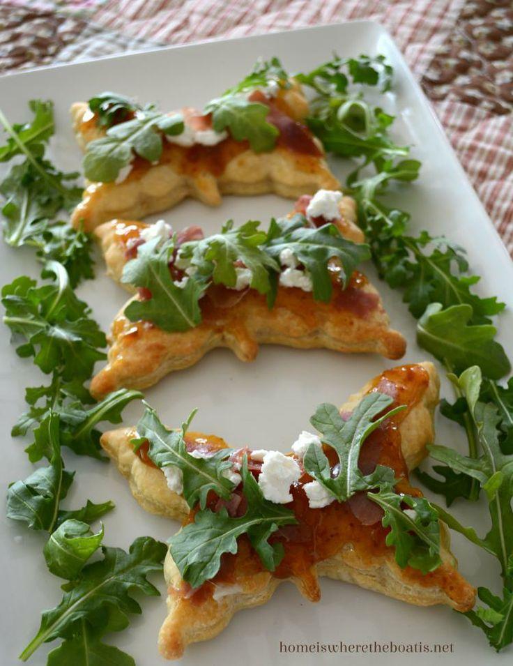 Fig, Goat Cheese, Prosciutto & Arugula topped mini pizzas!   Favorite ...