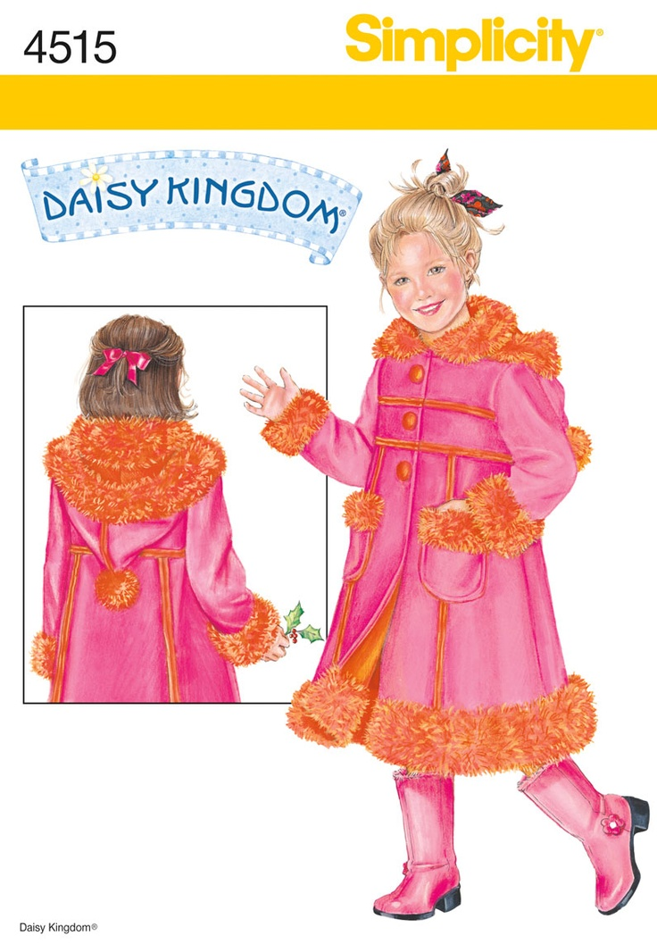 Fleece Coat  4515 Simplicity size 5-6-7-8 lots of nice details. 2005 Daisy Kingdom