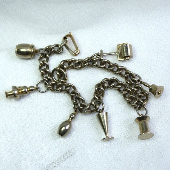 vintage brass charm bracelet