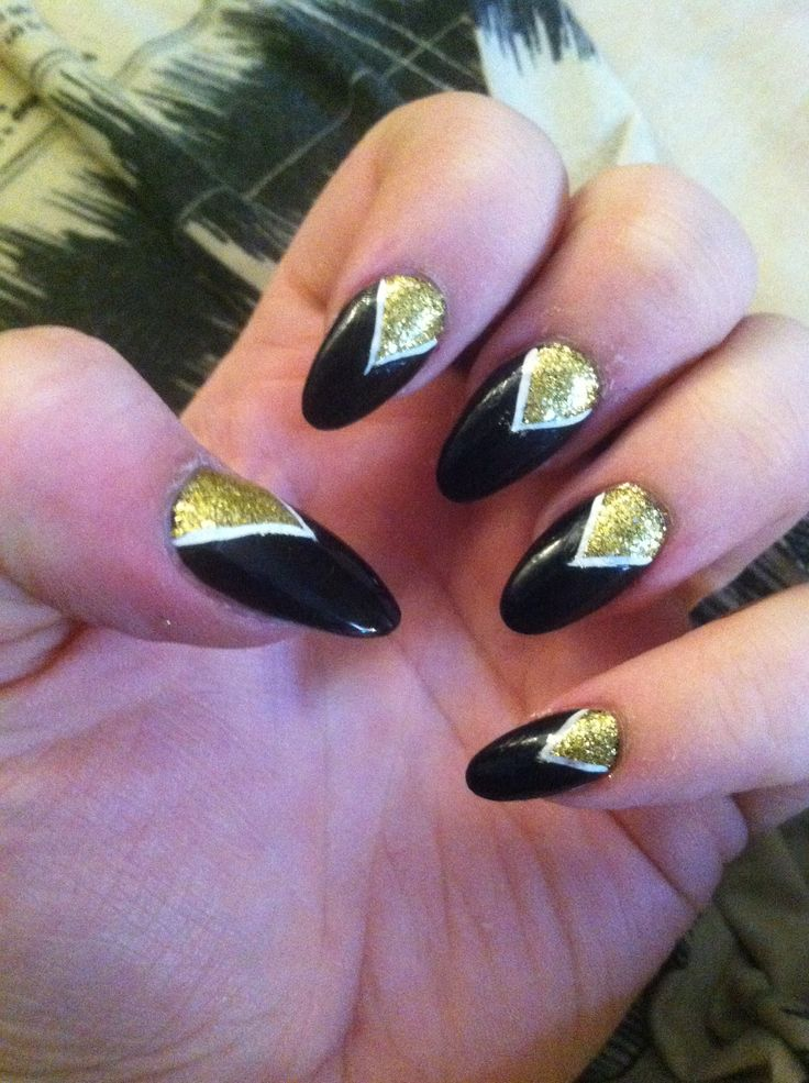 Pictures Of Black And Gold Almond Nails Kidskunst Info