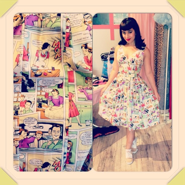 Comic printed vintage inspired dress from the @slapbacks_nyc shop in brooklyn! I need!!
